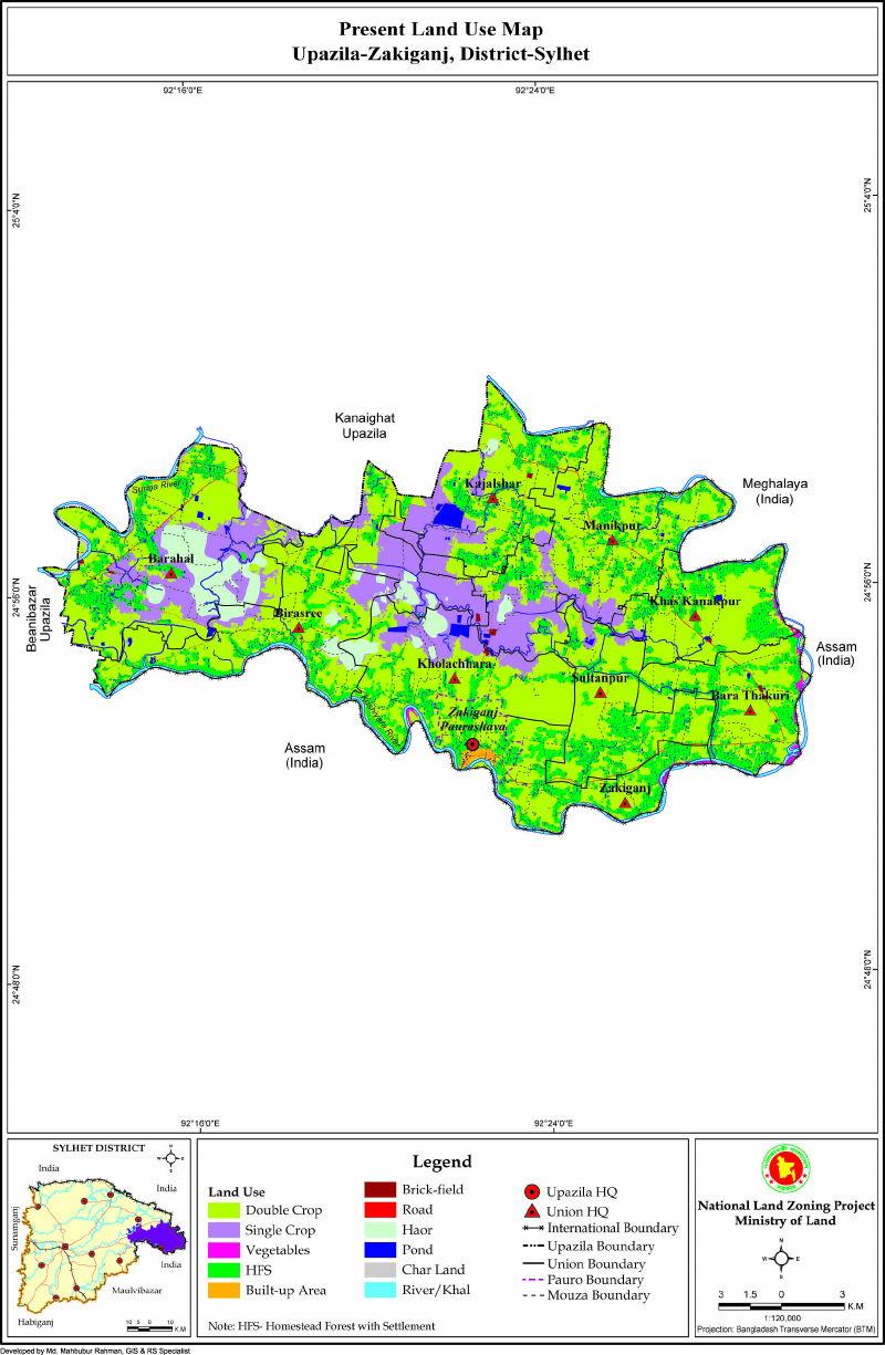 Zakiganj Upazila Mouza Map Sylhet District Bangladesh