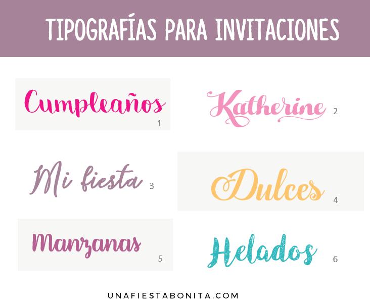 Tipos De Letras Para Invitaciones Fiestas Una Fiesta