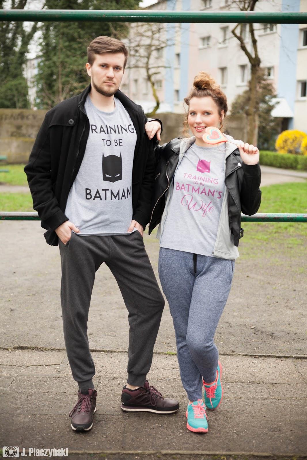 training to be batman and training to be batmans wife koszulki sportowe dla par dziewczyna chlopak milosc koszulove