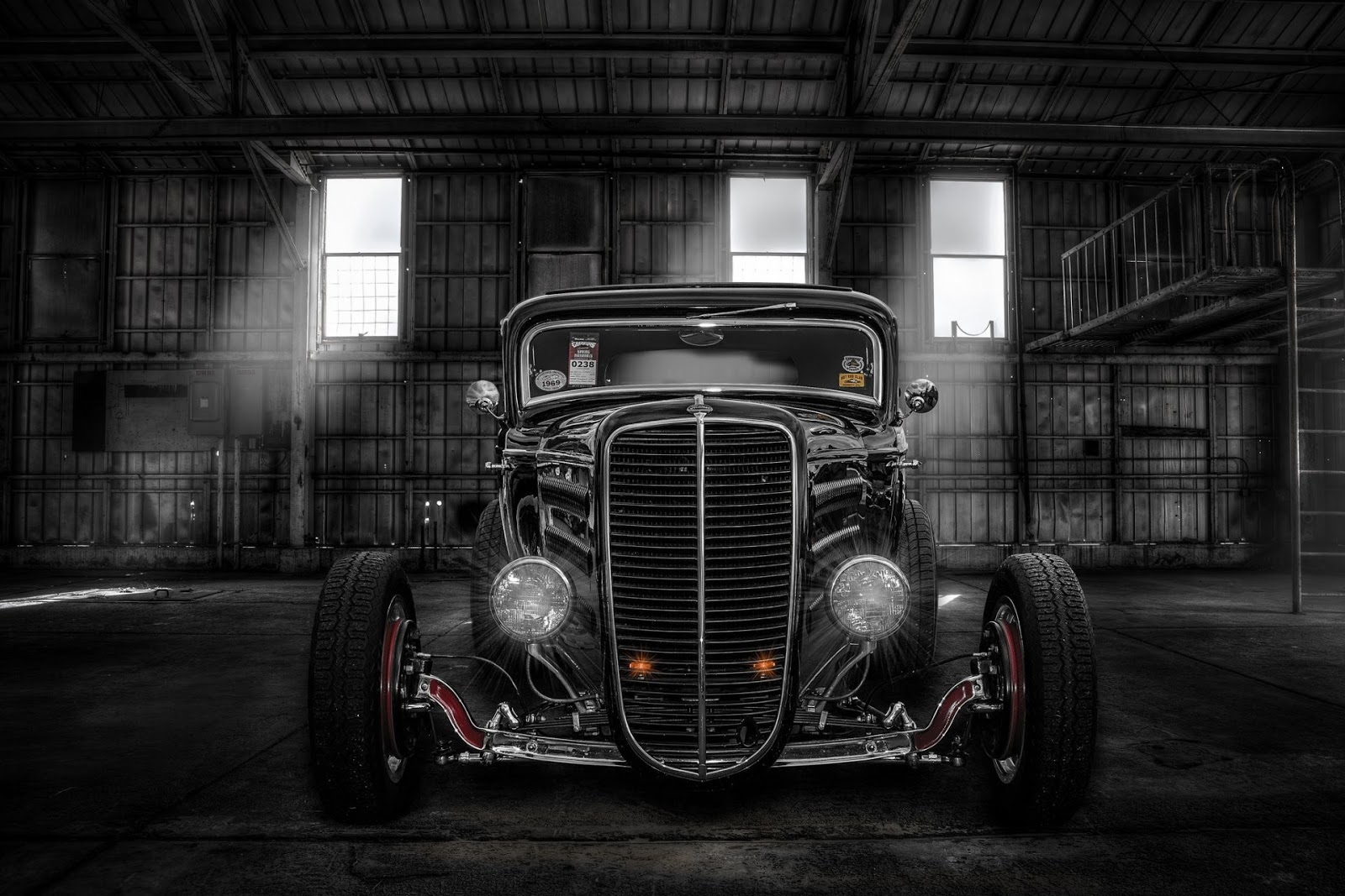 hot-rod, classic car, classic, retro, front, light, hangar