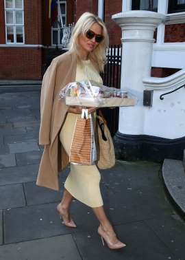 Pamela Anderson Visits WikiLeaks Founder Julian Assange Again, Bearing More Treats
