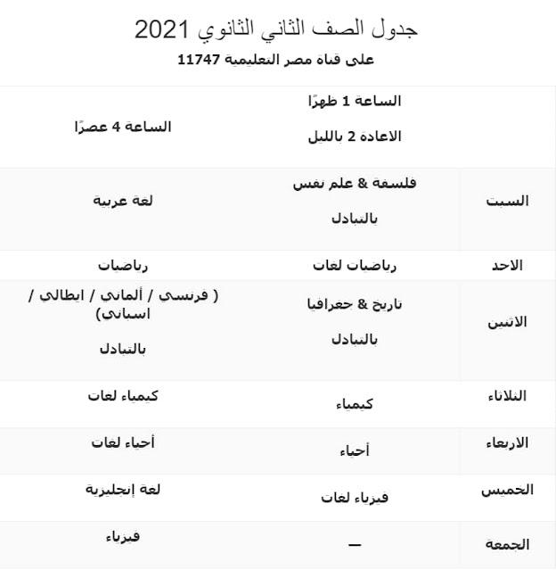 جدول قناة مصر التعليمية 2021 للصف الثاني الثانوي