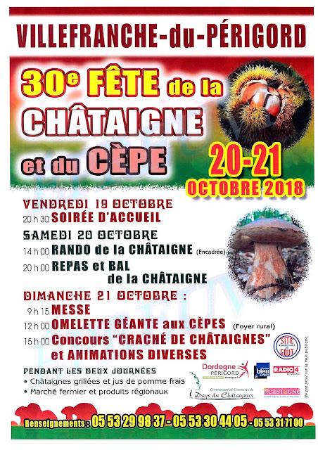 Fête de la Châtaigne et du Cèpe à Villefranche-Du-Perigord en Dordogne 2018