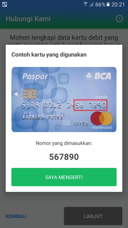 Bukti transfer ke Payfazz