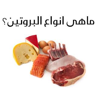 أنواع البروتينات الكاملة و النباتية بمصدريها النباتي و الحيواني