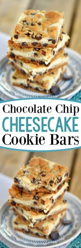 Chocolate Chip Cheesecake Cookie Bars | GIRLS DISH