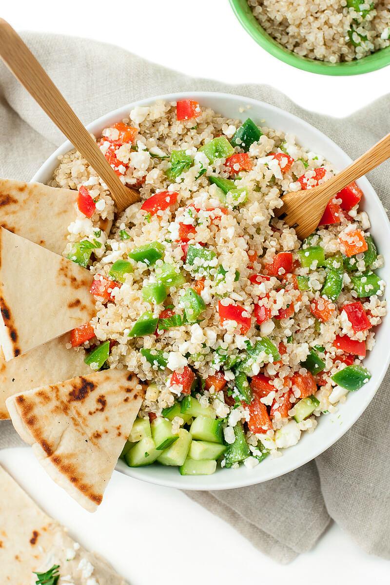 GREEK QUINOA BOWLS #bowls #lowcarb #whole30 #healthydiet #keto