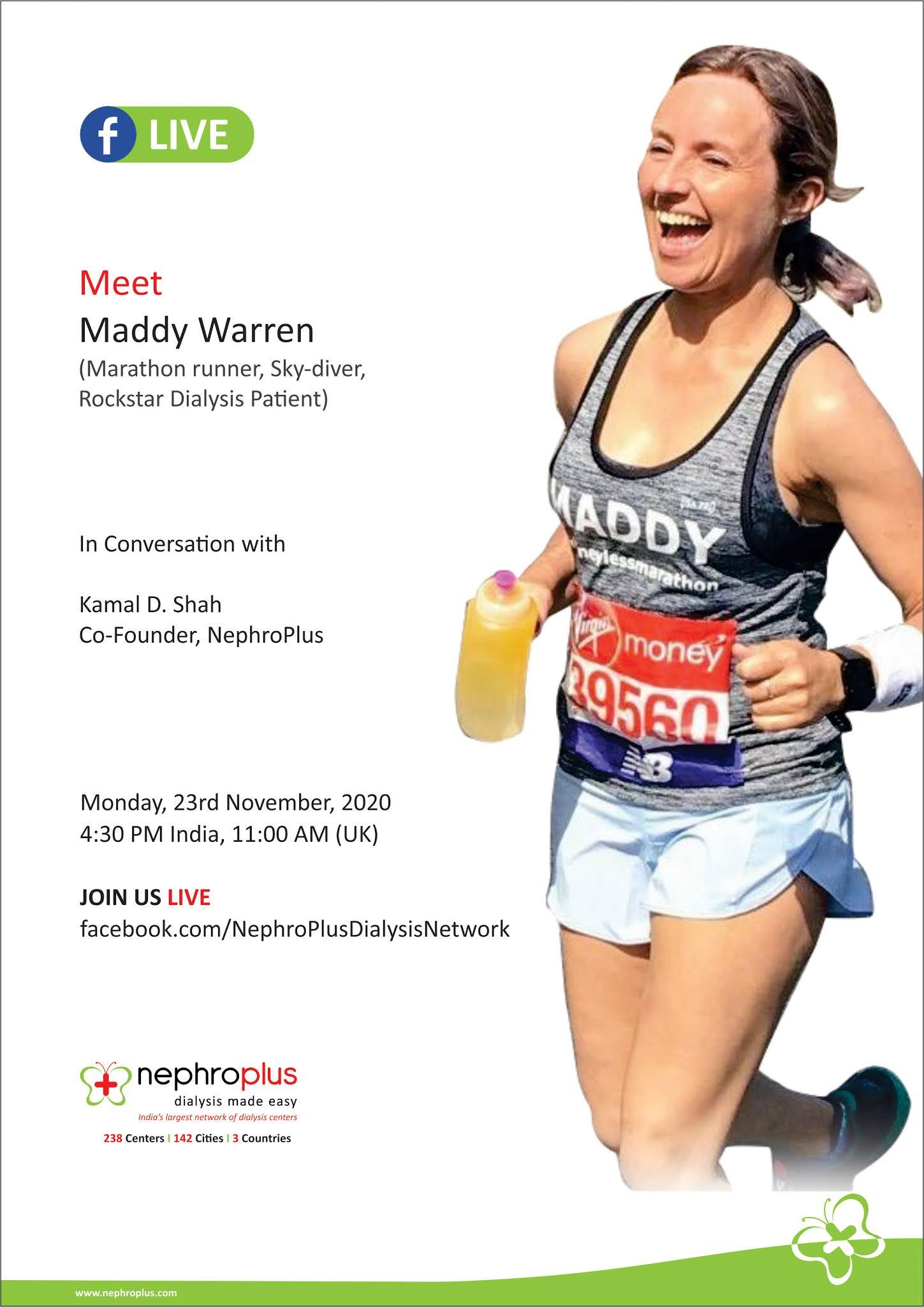 I M Interviewing Maddy Warren 22 Years On Dialysis And Marathon Runner
