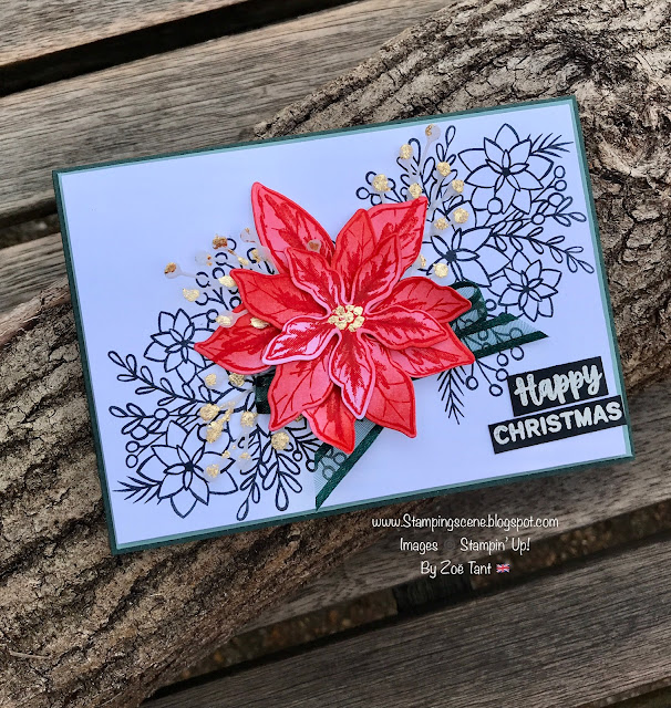 handmade christmas card with poinsettia stamps and dies