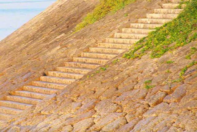 ocean, Okinawa, stairs, Yaka