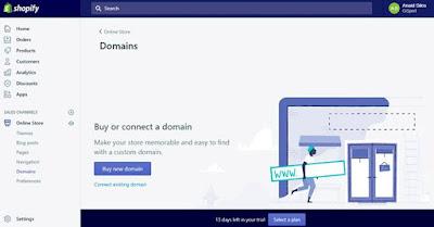 Comprar dominios desde Shopify