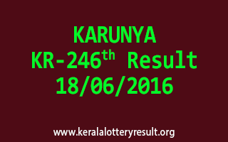 KARUNYA Lottery KR 246 Results 18-6-2016