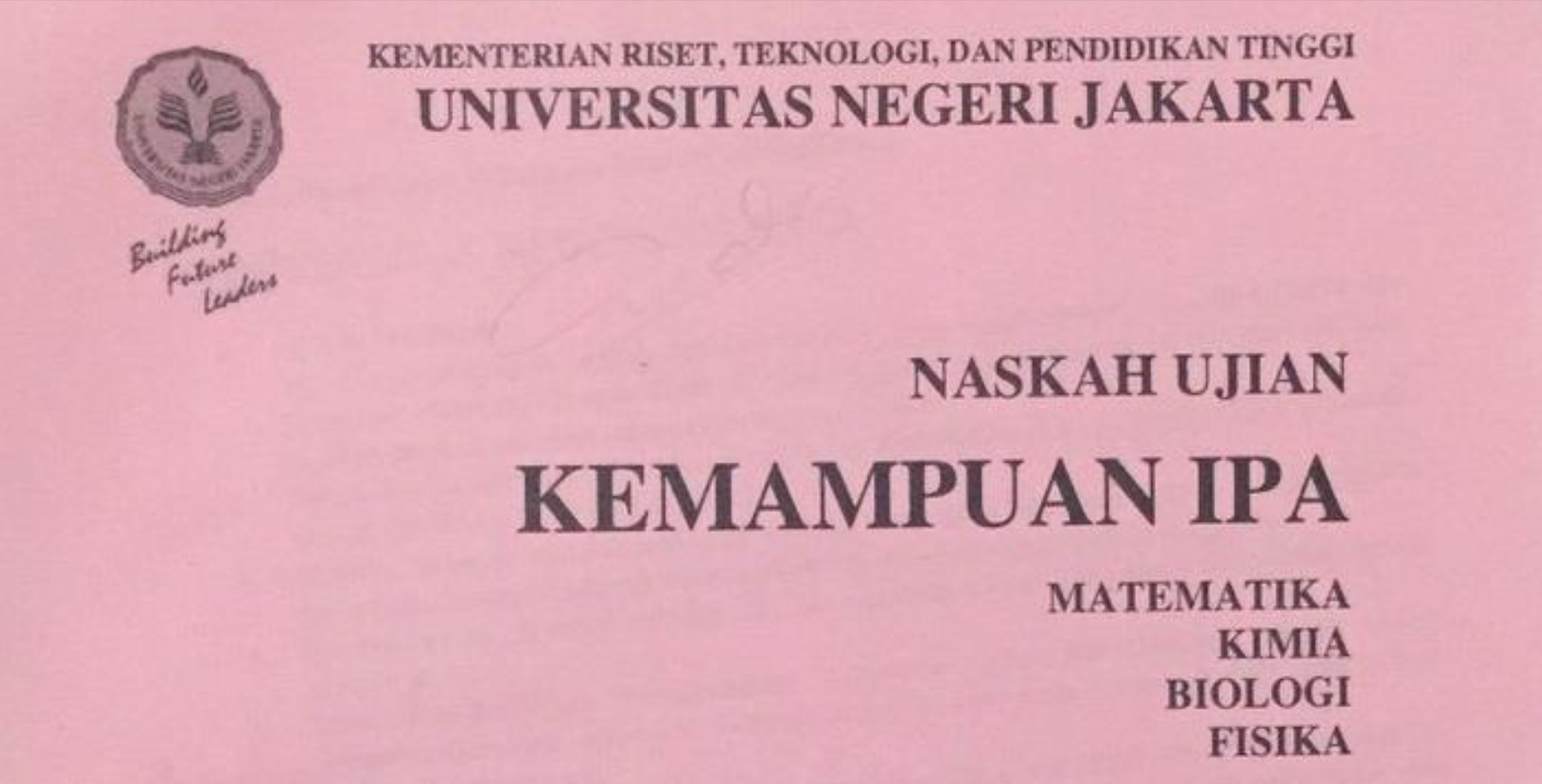 Kumpulan Soal PENMABA Seleksi Mandiri Universitas Negeri Jakarta (UNJ) Kemampuan Dasar, IPA dan IPS