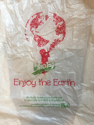 Writing on a plastic bag explaining the bag can be composted.