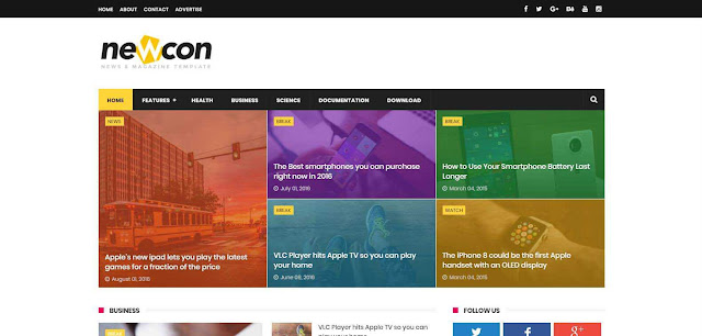 Newcon Premium Looking Blogger Template