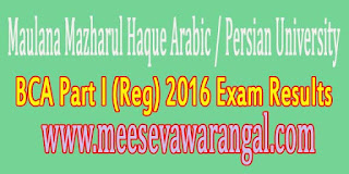 Maulana Mazharul Haque Arabic / Persian University BCA Part I (Reg) 2016 Exam Results