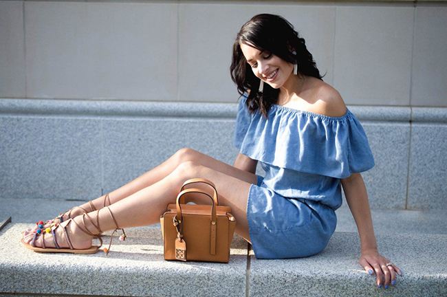 Hashtag Fab Life- Chambray Romper