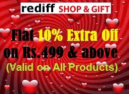 Valentine Day Offer: Get 10% Extra off on All Products@ Rediff Shopping