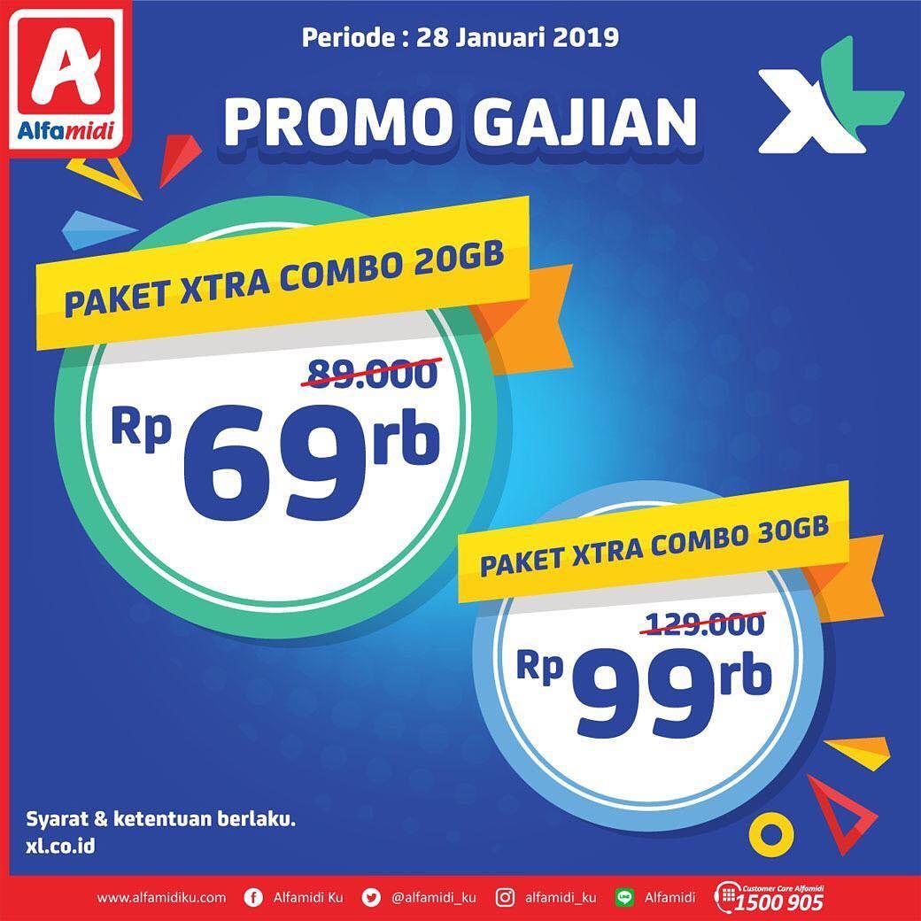 #Alfamidi - #Promo Diskon Gajian Paket Xtra Combo 20 GB & Xtra Combo 30GB (28 Jan 2019)