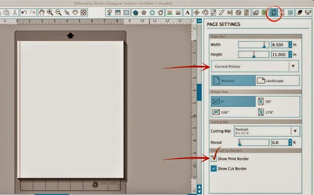 Silhouette Studio, registration marks, move registration marks, enlarge print area, page settings