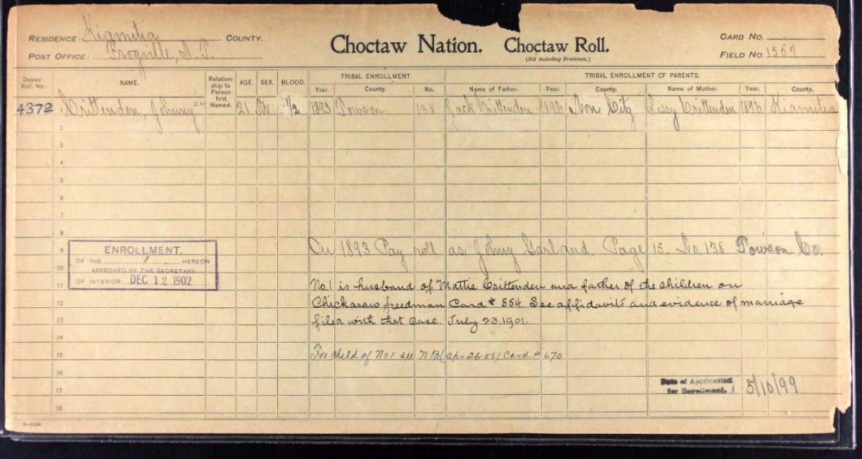 Chickasaw Freedmen Roll Number Benefits – Billy Knight