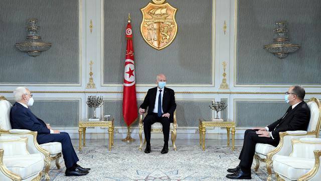 قيس سعيد خلال لقائه راشد الغنوشي وهشام المشيشي: يجب المصادقة على مشروع قانون المالية (صور)