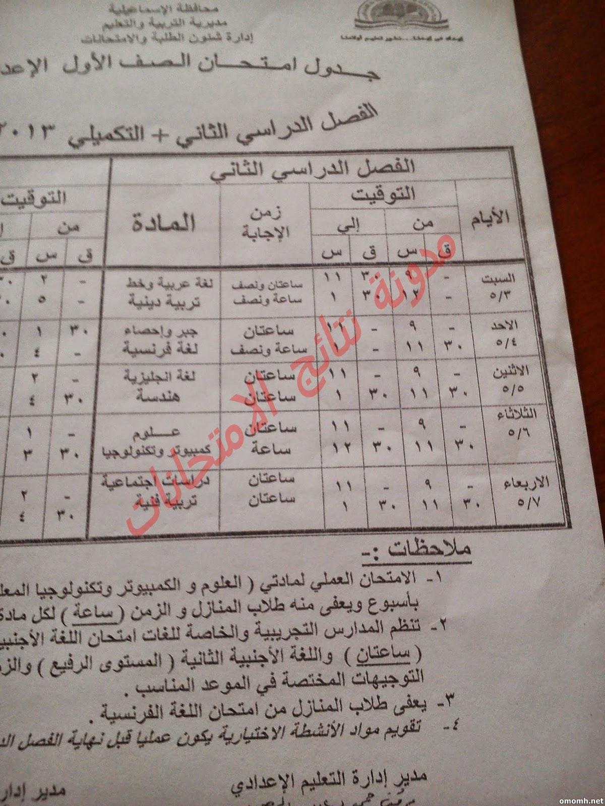 جدول ومواعيد امتحانات  الشهاده الاعداديه