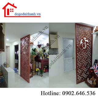 Lắp đặt vách cnc trang trí phòng thờ - chắn bàn thờ, quận Tân Bình