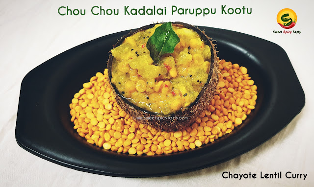 Chow chow kadalai paruppu kootu is protein rich ,mildly spiced and pairs well with sambar rice or chapathi .seeme badnekaai kootu, chow chow kootu , chow chow kadala paruppu kootu,chow chow kadalai paruppu kootu , kadalai paruppu kootu , poosnikai kadalai paruppu kootu , bangalore kathrikaai kootu , Bangalore kathrikaai