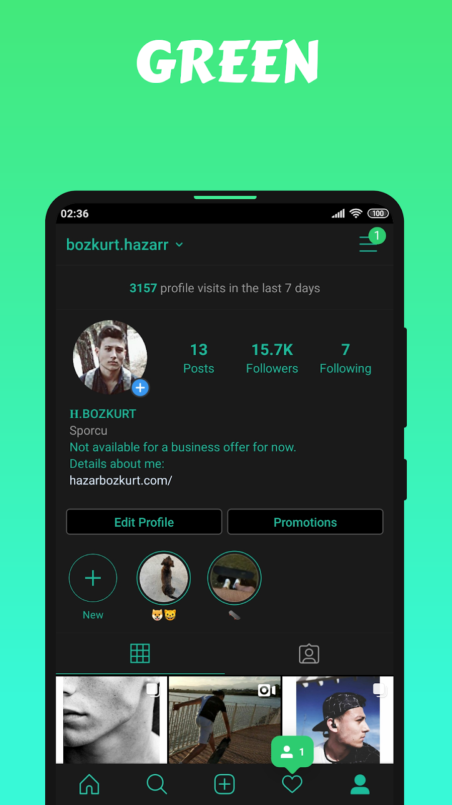 Dark with Green Theme