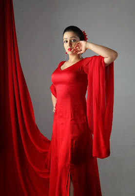 2014 Latest New Hot Images of Charmi Kaur in Red Outfits