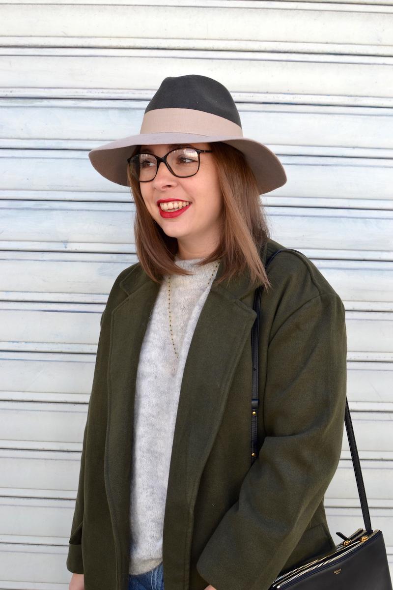 manteau kaki de chez Sheinside et chapeau kaki et rose pastel