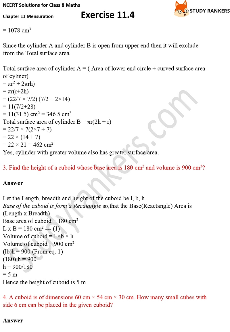 NCERT Solutions for Class 8 Maths Ch 11 Mensuration Exercise 11.4 2