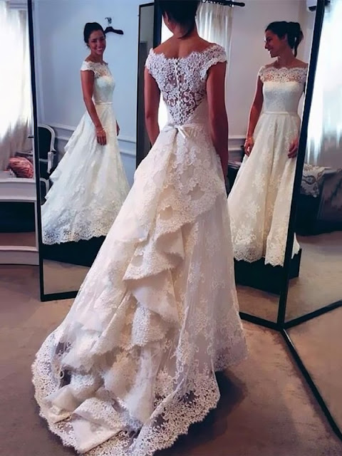 A-line Scalloped Neck Lace Watteau Train Sashes / Ribbons Elegant Wedding Dresses