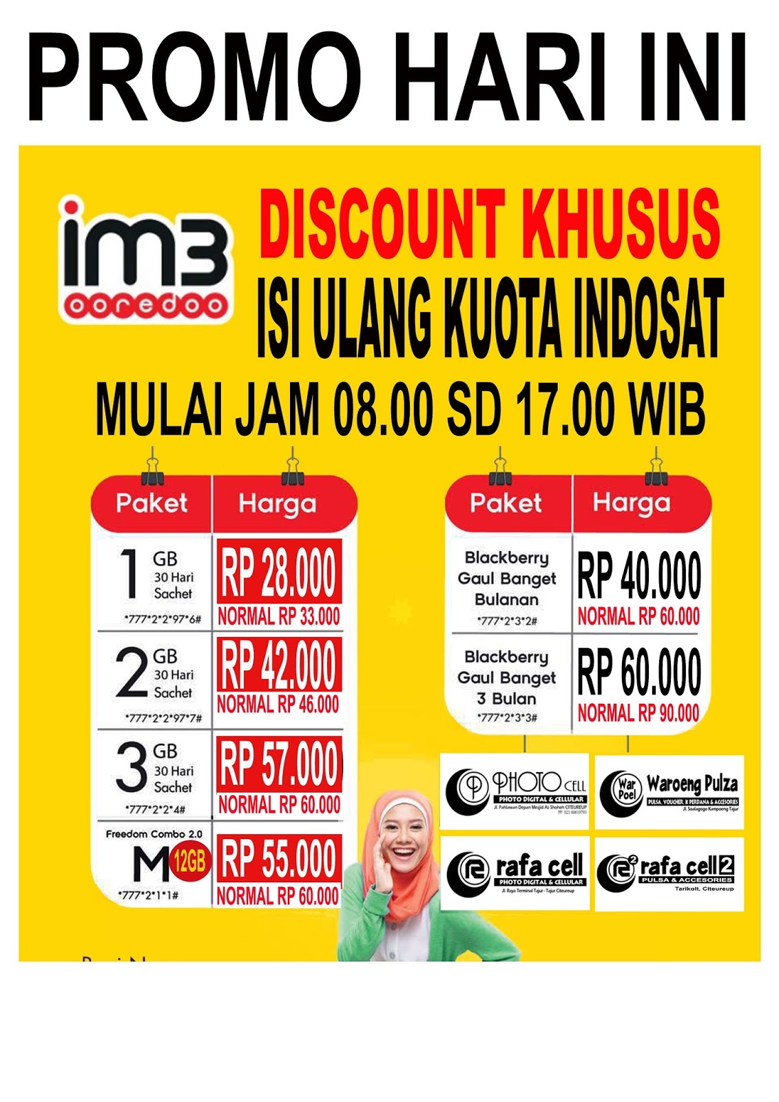 Photo Cell Citeureup Promo Isi Ulang Kuota Indosat Freedom Combo 12gb 1gb 28rb 2gb 42000 M 57000 Tlp Sms Unlimited Paketbb 1bln 40rb 3bln 60000 Berlaku Hari Senin 15 Agustus