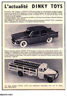 Publicités Dinky Toys de 1961