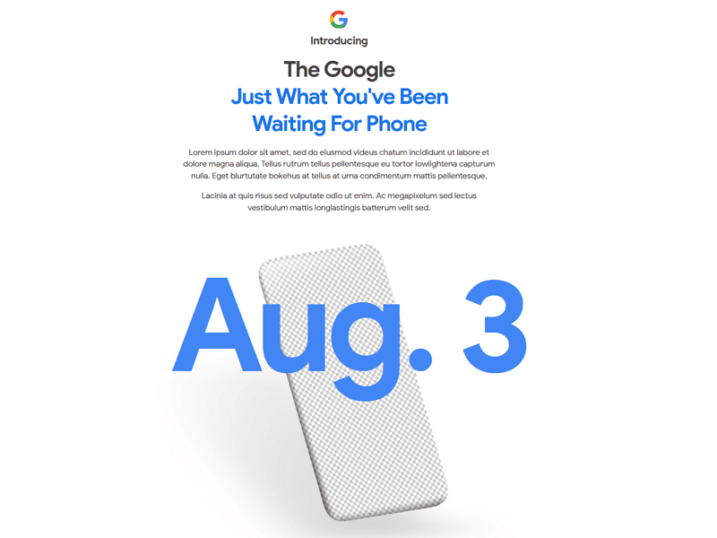 Google Pixel 4a to launch this August 3!