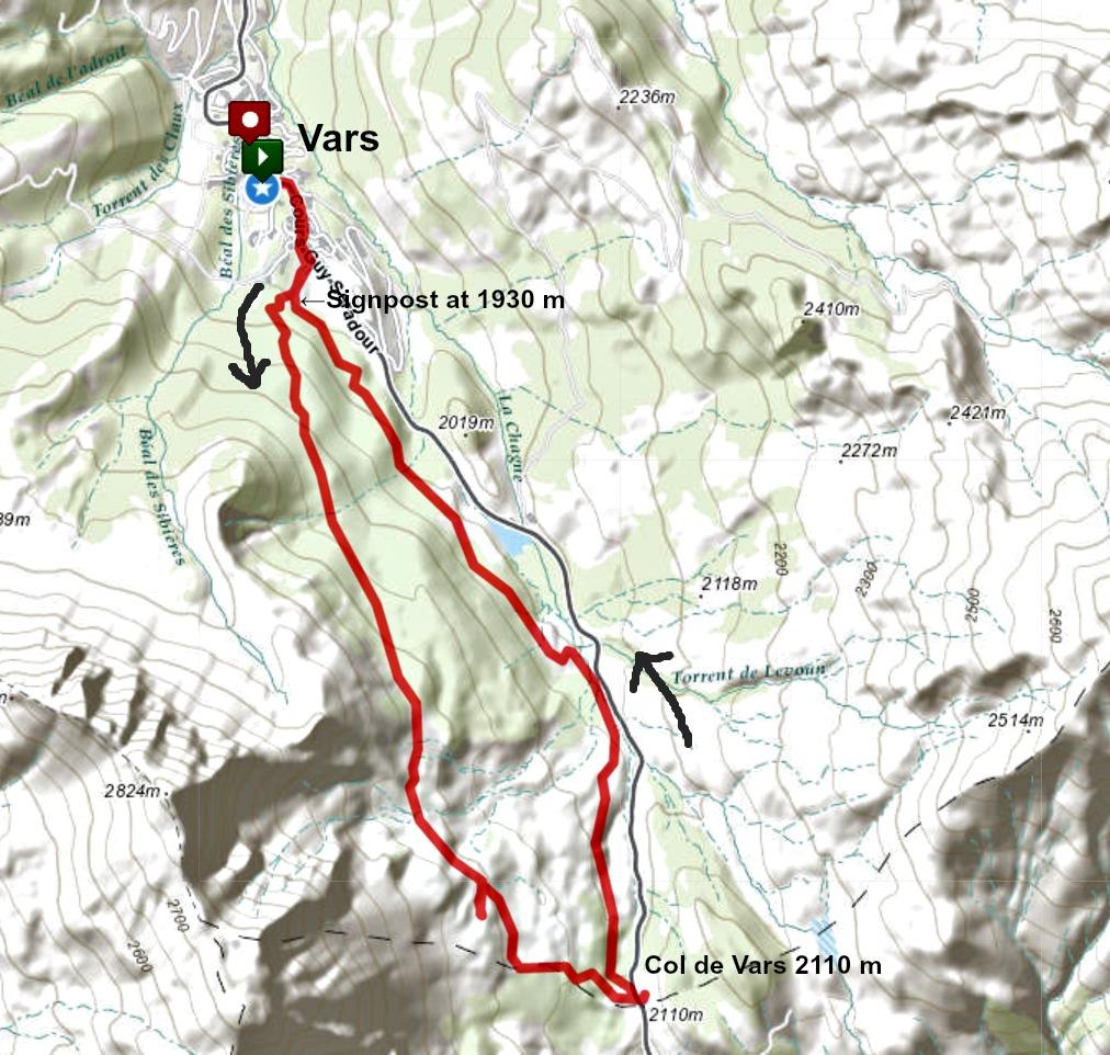 Col de Vars trail track