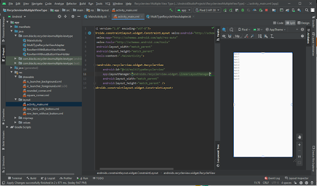 android studio recyclerview multiple view type