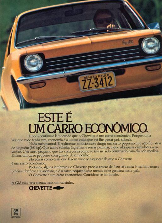 Propaganda da Chevrolet promovendo a economica que era ter um Chevette na garagem