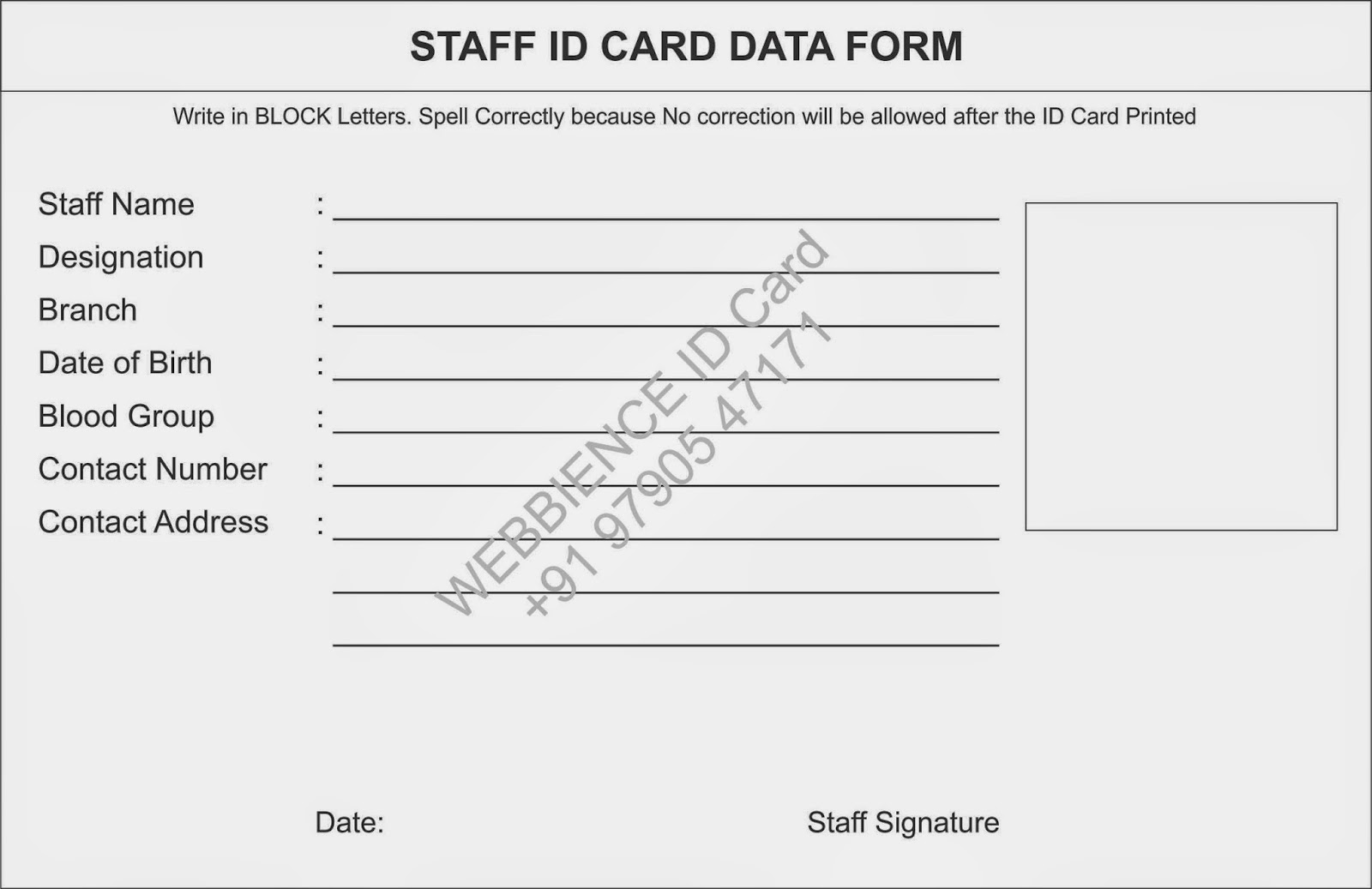 Template galleries college staff id card data form for Staff id badge template