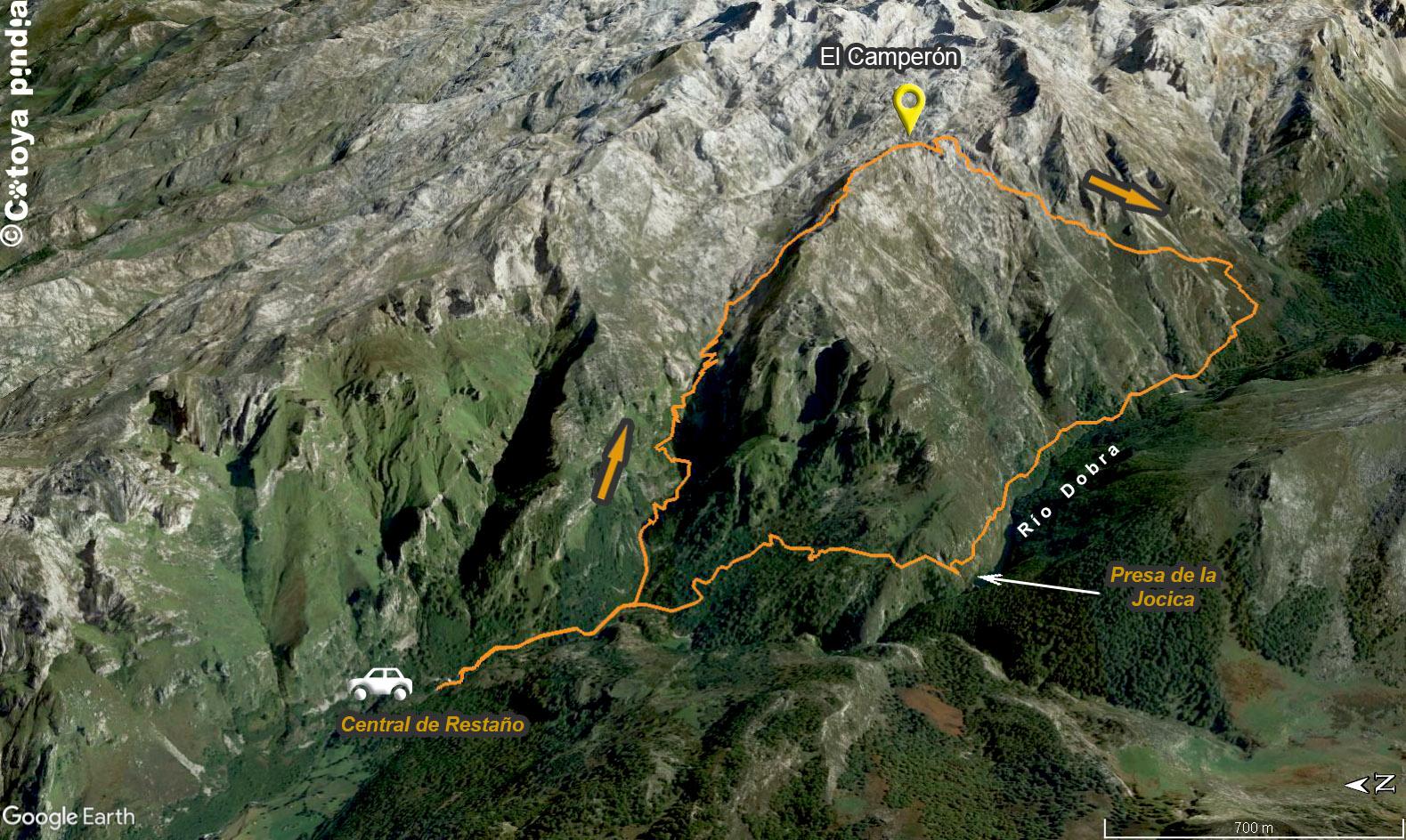 Mapa 3D de la ruta al Pico Camperón en Picos de Europa