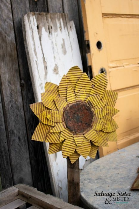 This cute DIY cardboard sunflower has the look of the corrugated metal and is a great reuse project.
