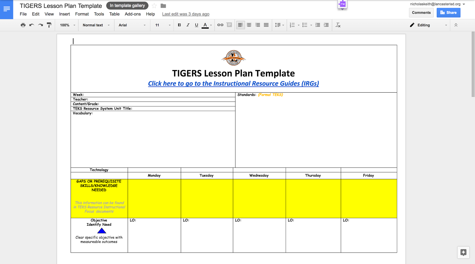 Texas edtech using google team drives to create and share lesson create a google doc with the lesson plan template for your campus saigontimesfo