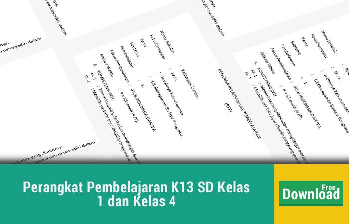 Perangkat Pembelajaran K13 SD Kelas 1 dan Kelas 4