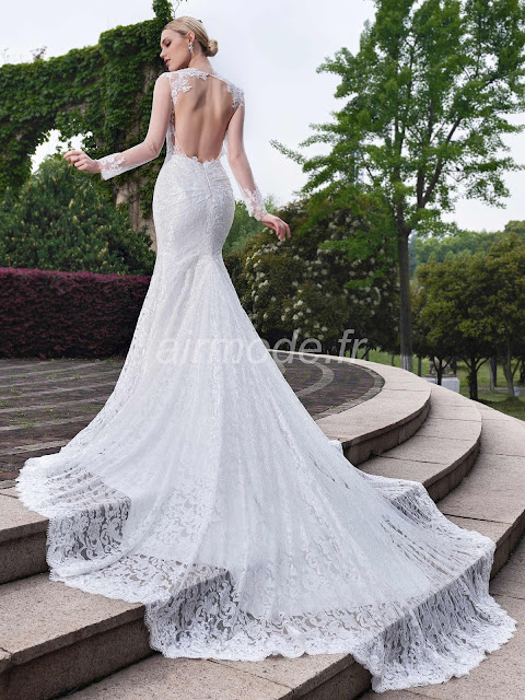 longueur des manches longues étage appliques naturelles église automne trompette / sirène la robe de mariée de jardin / outdoor http://www.airmode.fr/product/130571520.html