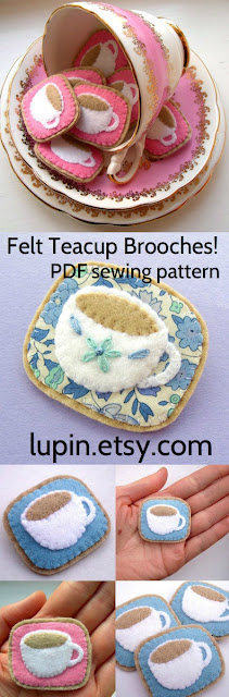 felt teacup brooches PDF sewing pattern