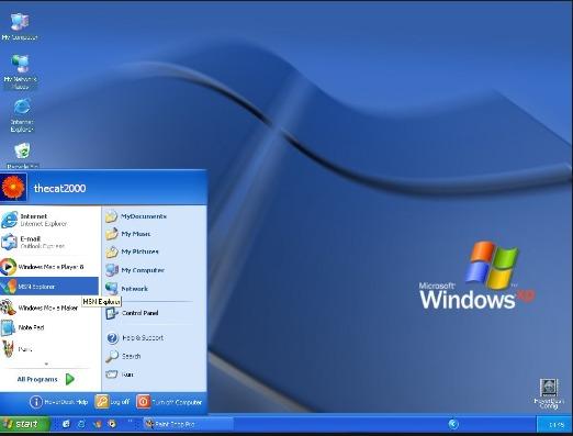 tampilan desktop windowx xp setelah instal ulang