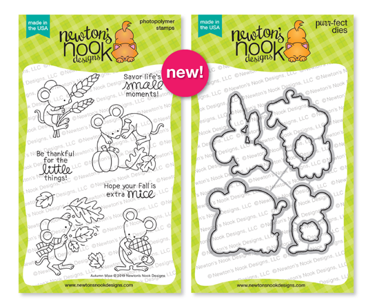 Autumn Mice | Mice in Fall settings Stamp Set by Newton's Nook Designs #newtonsnook