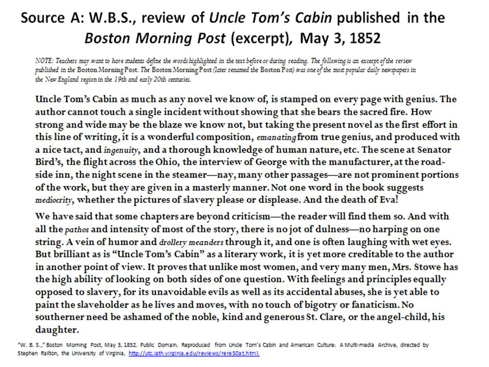 uncle toms cabin critical analysis essay Uncle tom's cabin - critical review skyler carrico h105 harriet beecher stowe's primary argument in uncle tom's cabin is clearly her opposition to slavery she had a lifelong principle that slavery is anti-christian, and used her writing skills to spread the word.
